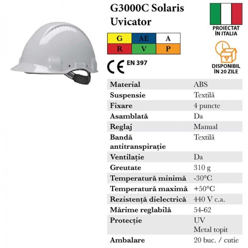 Casca de protectie G3000 Solaris Uvicator